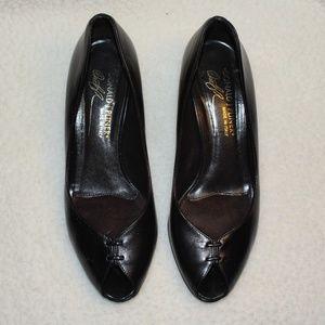 Donald Pliner Classic Black Peep Toe Heel